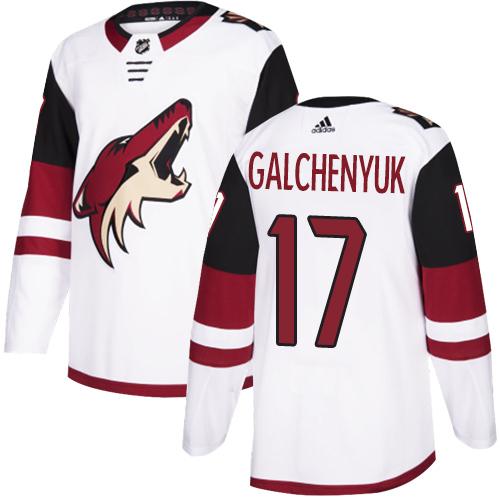 Coyotes #17 Alex Galchenyuk White Road Authentic Stitched Hockey Jersey