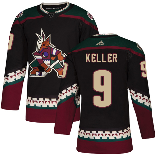 Coyotes #9 Clayton Keller Black Alternate Authentic Stitched Hockey Jersey