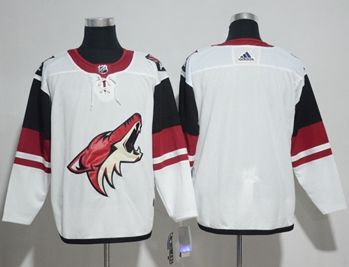 Coyotes Blank White Road Authentic Stitched Hockey Jersey