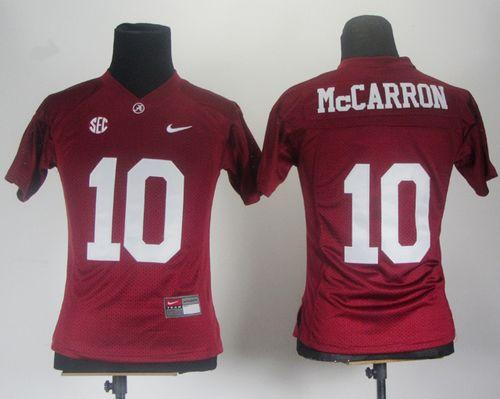 Crimson Tide #10 AJ McCarron Red Women's Stitched NCAA Jersey