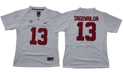 Crimson Tide #13 Tua Tagovailoa White Limited Stitched NCAA Jersey