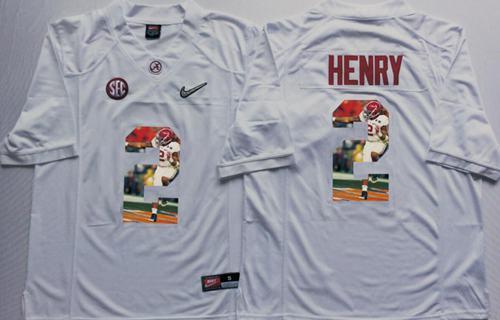Crimson Tide #2 Derrick Henry White Player Fashion Stitched NCAA Jersey