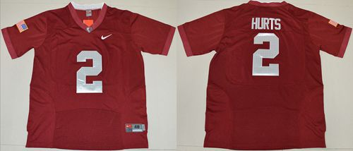 Crimson Tide #2 Jalen Hurts Red Pro Combat Stitched NCAA Jersey