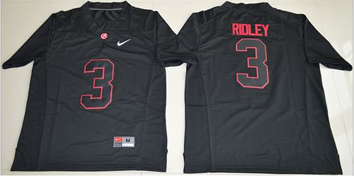 Crimson Tide #3 Calvin Ridley Blackout Limited Stitched NCAA Jersey