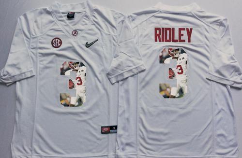 Crimson Tide #3 Calvin Ridley White Player Fashion Stitched NCAA Jersey