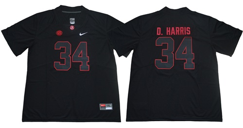 Crimson Tide #34 Damien Harris Blackout Limited Stitched NCAA Jersey