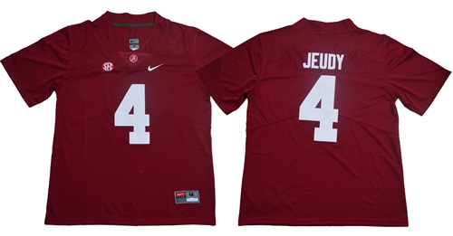 Crimson Tide #4 Jerry Jeudy Red Limited Stitched NCAA Jersey