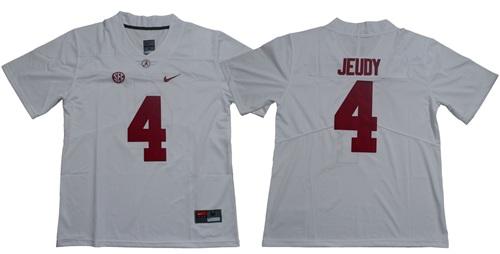 Crimson Tide #4 Jerry Jeudy White Limited Stitched NCAA Jersey