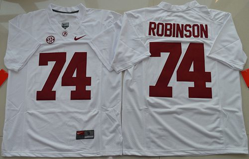 Crimson Tide #74 Cam Robinson White Limited Stitched NCAA Jersey