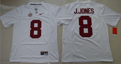 Crimson Tide #8 Julio Jones White Stitched NCAA Jersey