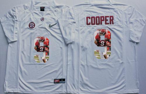 Crimson Tide #9 Amari Cooper White Player Fashion Stitched NCAA Jersey