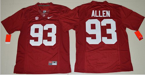 Crimson Tide #93 Jonathan Allen Red Limited Stitched NCAA Jersey