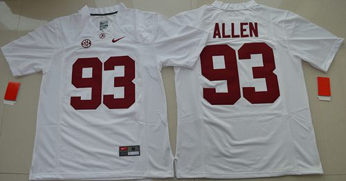 Crimson Tide #93 Jonathan Allen White Limited Stitched NCAA Jersey
