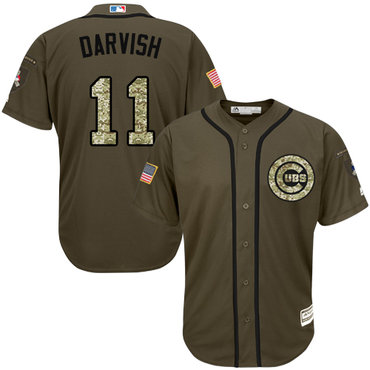 Cubs #11 Yu Darvish Green Salute to Service Stitched Youth MLB Jersey