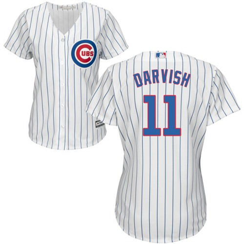 Cubs #11 Yu Darvish White(Blue Strip) Home Women's Stitched MLB Jersey