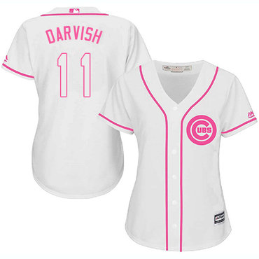 Cubs #11 Yu Darvish White Pink Fashion Women's Stitched MLB Jersey