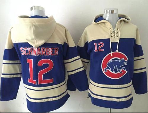 Cubs #12 Kyle Schwarber Blue Sawyer Hooded Sweatshirt MLB Hoodie