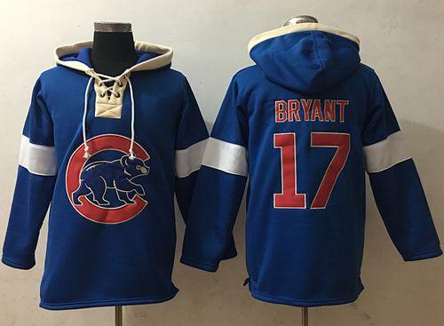 Cubs #17 Kris Bryant Blue Pullover MLB Hoodie