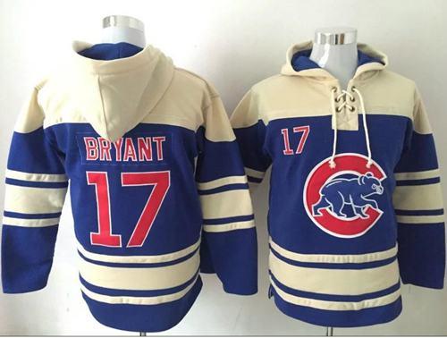 Cubs #17 Kris Bryant Blue Sawyer Hooded Sweatshirt MLB Hoodie