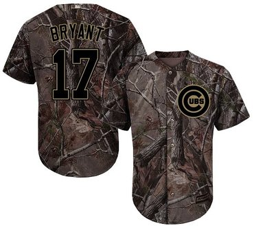 Cubs #17 Kris Bryant Camo Realtree Collection Cool Base Stitched Youth Baseball Jersey