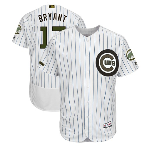 Cubs #17 Kris Bryant White(Blue Strip) Flexbase Authentic Collection 2018 Memorial Day Stitched Baseball Jersey