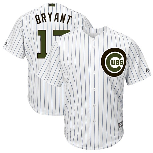 Cubs #17 Kris Bryant White(Blue Strip) New Cool Base 2018 Memorial Day Stitched Baseball Jersey
