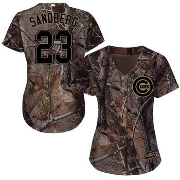 Cubs #23 Ryne Sandberg Camo Realtree Collection Cool Base Women's Stitched Baseball Jersey