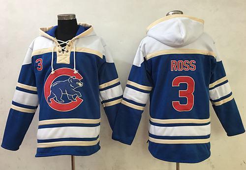 Cubs #3 David Ross Blue Sawyer Hooded Sweatshirt MLB Hoodie