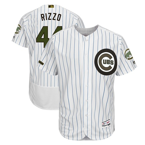 Cubs #44 Anthony Rizzo White(Blue Strip) Flexbase Authentic Collection 2018 Memorial Day Stitched Baseball Jersey