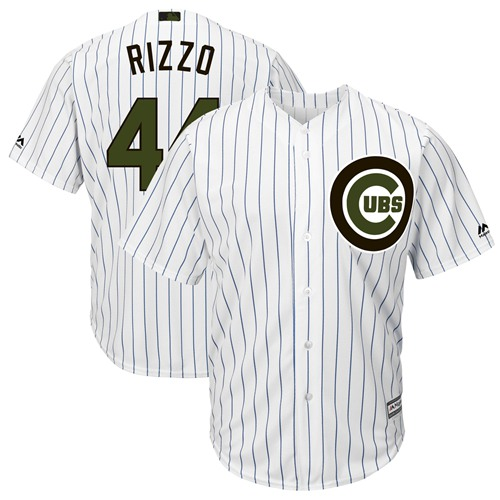 Cubs #44 Anthony Rizzo White(Blue Strip) New Cool Base 2018 Memorial Day Stitched Baseball Jersey