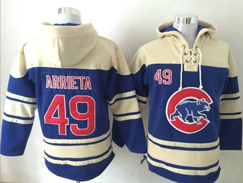 Cubs #49 Jake Arrieta Blue Sawyer Hooded Sweatshirt MLB Hoodie