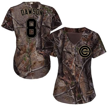 Cubs #8 Andre Dawson Camo Realtree Collection Cool Base Women's Stitched Baseball Jersey