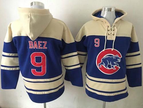 Cubs #9 Javier Baez Blue Sawyer Hooded Sweatshirt MLB Hoodie