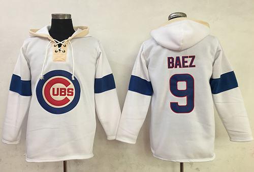 Cubs #9 Javier Baez White Pullover MLB Hoodie