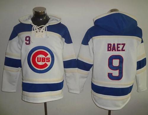 Cubs #9 Javier Baez White Sawyer Hooded Sweatshirt MLB Hoodie