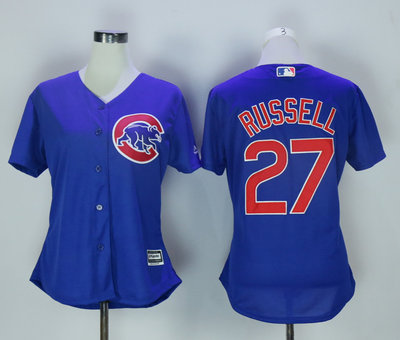 Cubs 27 Addison Russell Blue Women New Cool Base Jersey