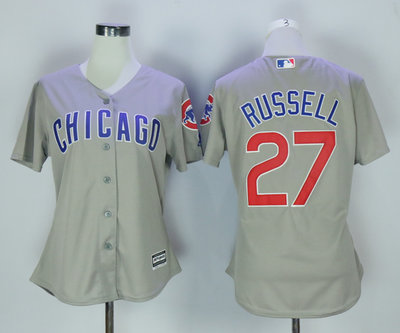 Cubs 27 Addison Russell Grey Women New Cool Base Jersey