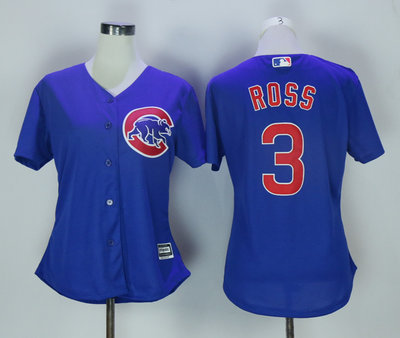 Cubs 3 David Ross Blue Women New Cool Base Jersey