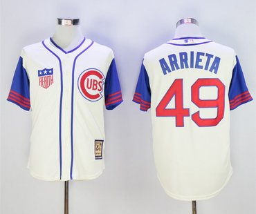 Cubs 49 Jake Arrieta Cream Cooperstown Collection Jersey