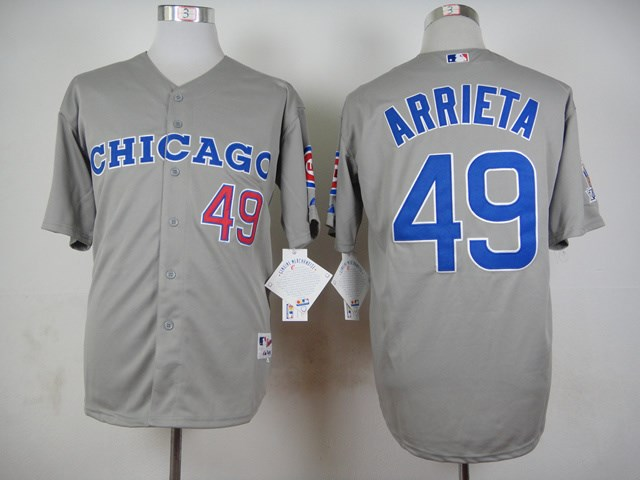 Cubs 49 Jake Arrieta Gray Throwback Jersey