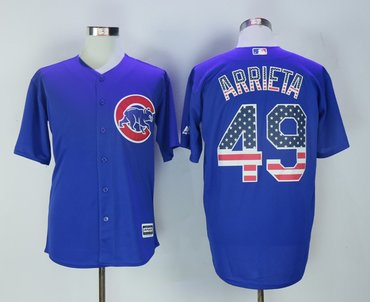 Cubs 49 Jake Arrieta Royal US Flag Cool Base Jersey