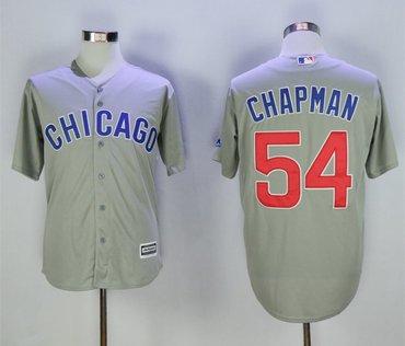 Cubs 54 Aroldis Chapman Gray Cool Base Jersey