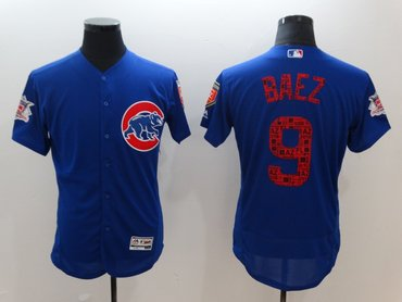 Cubs 9 Javier Baez Royal 2018 Spring Training Flexbase Jersey