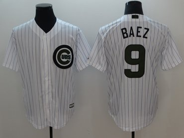 Cubs 9 Javier Baez White 2018 Memorial Day Cool Base Jersey