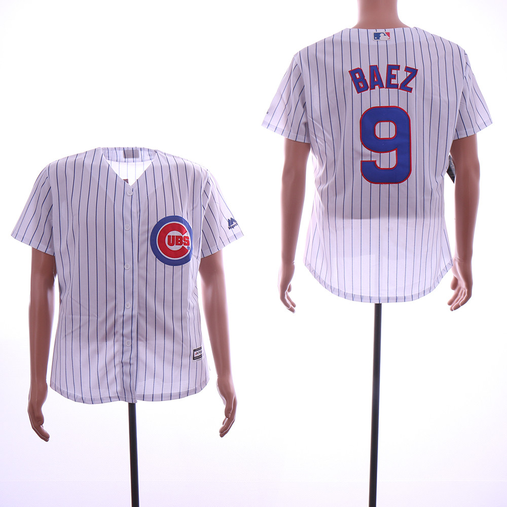 Cubs 9 Javiers Baez White Cool Base Jersey