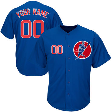 Cubs Blue Men's Customized Cool Base New Design Jersey