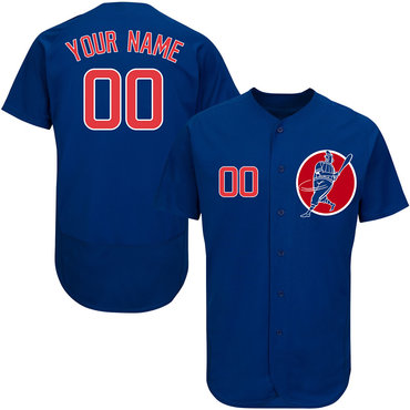 Cubs Blue Men's Customized Flexbase New Design Jersey