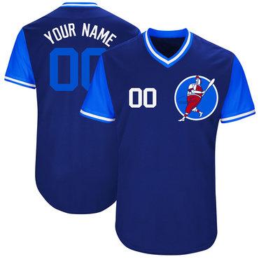 Cubs Blue Men's Customized M&N New Design Jersey
