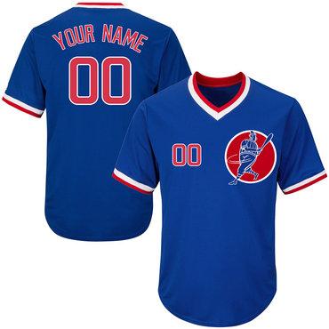 Cubs Blue Men's Customized Throwback New Design Jersey