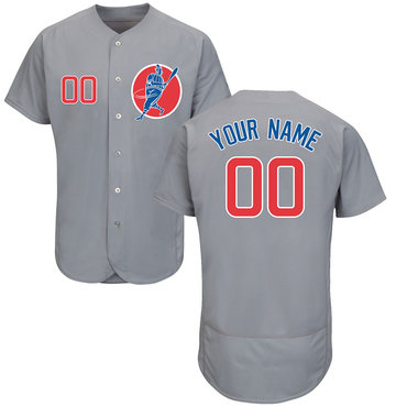 Cubs Gray Men's Customized Flexbase New Design Jersey